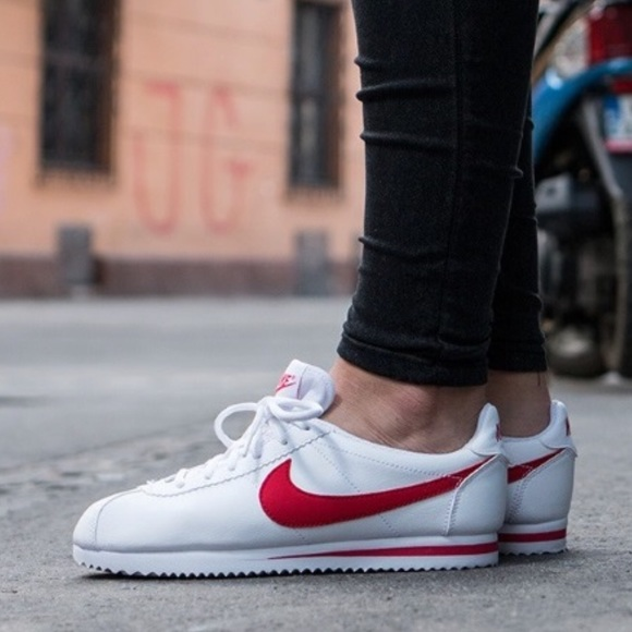 official photos aa38b 525a3 NEW ❤️ NIKE CORTEZ WHITE & RED LEATHER NWT