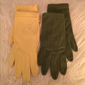 2 1950s 1960s Vintage Pairs Gloves Green Yellow