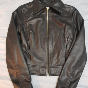 Beautiful authentic brown leather jacket-women, SM