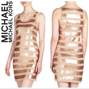 Blush & Rose Gold Sequin-Striped Tank Dress