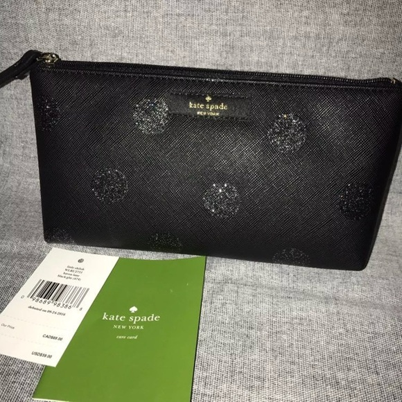 brand new 036cf 07b09 Kate Spade Glitter Polka Dot Makeup Bag Black NWT NWT