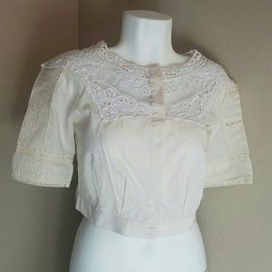 Tops - Macys Crochet Cropped Blouse in Cream and White
