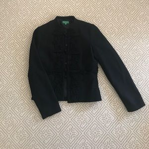 Tibi black chinoiserie jacket blazer