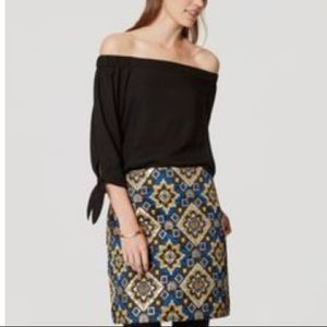 LOFT black polyester off the shoulder blouse