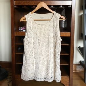 LOFT cream lace top