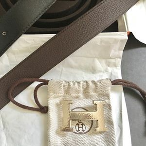 AUTHENTIC HERMES TOGO BELT & PALLADIUM BUCKLE 100