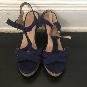 Shoes - Blue suede T-strap shoe