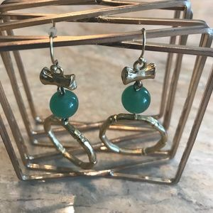 Gold toned jade wire drop earrings