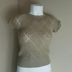 Tops - Brown Detailed Crochet Vest