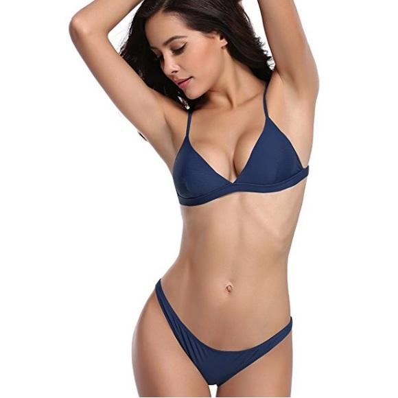 d8bc97c301c02 Swim | Navy Blue Bikini Triangle Bralette Style Suit | Poshmark