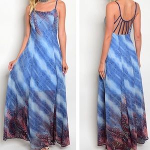Dresses & Skirts - NWT Gorgeous Blue Adjustable Straps Maxi Dress