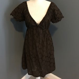 La Blanca Brown eyelet cover- up.