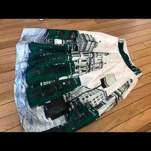 uLu's London Town Ivory & Green City Midi Skirt