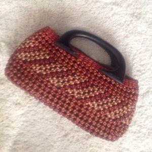 Handbags - VINTAGE wood handle woven red brown basket bag