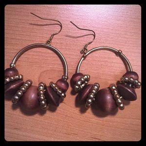 Aldo brown wooden and gold detail hoop earrings