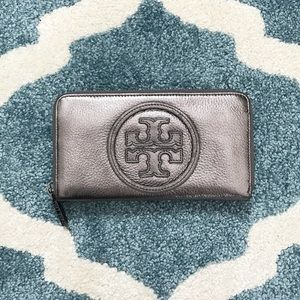 Tory Butch Pewter Continental Zip Around Wallet