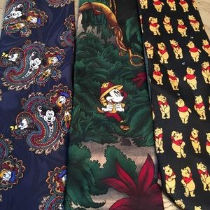 Lot of 3 Disney ties Mickey and Winnie the Pooh