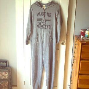 Gray hooded onesie pajamas
