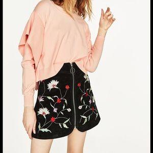 🆕NWT Zara Blush Side Frill Sweater, M