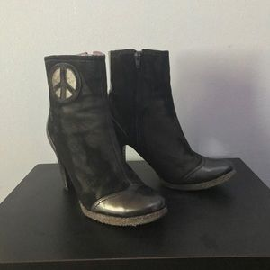True Religion Peace Sign Ankle Booties Black