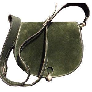 Gherardini green suede messenger handbag