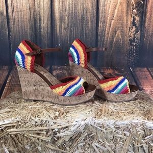 MIA Hanah Rainbow Crochet Cork Wedge Platform Heel