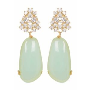 Nwt Louise et Cie jade and jewel drop earrings