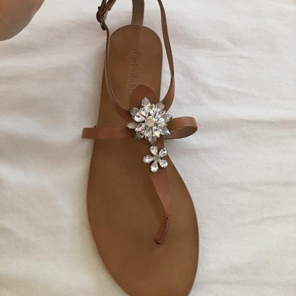 24ff53ed142 Charles David Shoes - Charles David Brown Sandals w  Floral Rhinestones