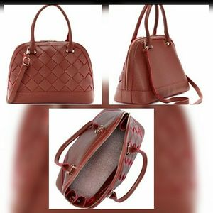 Pink Haley- Brown & Red Accent Braided Satchel Bag