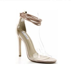 Shoes - Nude Clear Strap Heels
