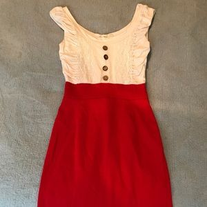 Alythea/Modcloth White/Red Dress Size Sm