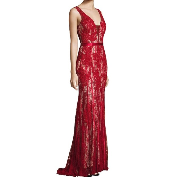 Saks Fifth Avenue Black Label Dresses | Saks Red Lace Gown Basix ...