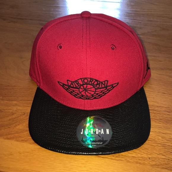 5f0e108051c Air Jordan Snapback Red Black Retro Hat Flat Rim