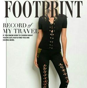 Pants - Black Lace-up Camo Detail Leggings