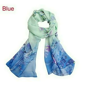 Accessories - Blue Chiffon Magpie Scarf