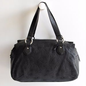 Oscar de la Renta Black Leather Medium Satchel