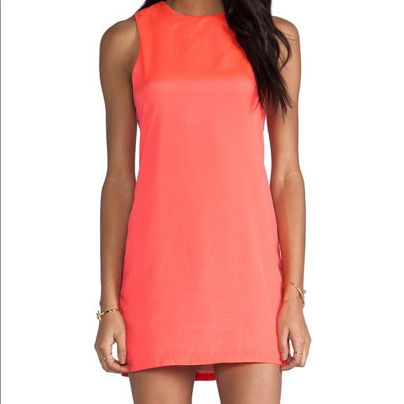 Neon Coral Shift Dress