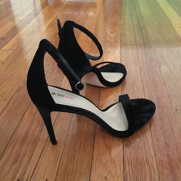 JustFab Shoes - Ankle strap black velvet heels