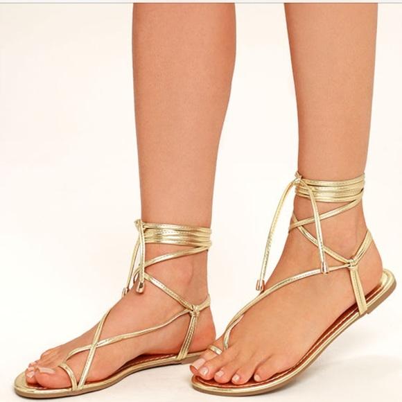 63b6adbcc Lulu s Micah Light Gold Lace-up Flat Sandals