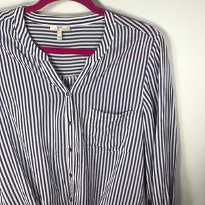 Joie Silk Edaline Blue White Stripe Tie Front