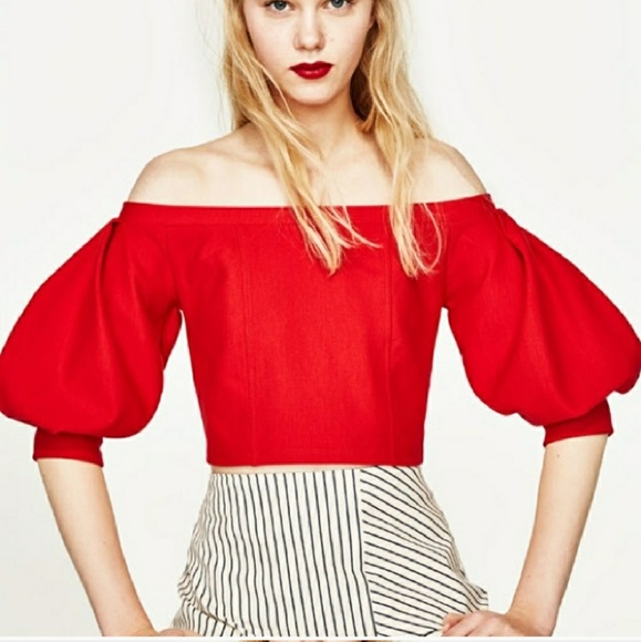 1ee862a7277 Zara Tops | New Red Off The Shoulder Crop Top Size Large | Poshmark