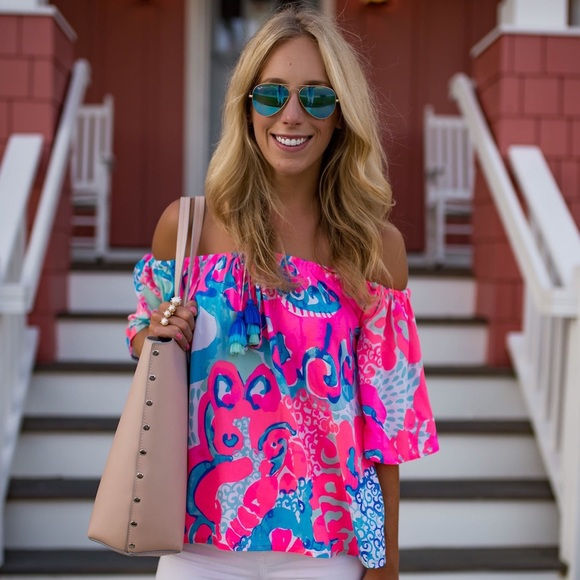 2cdb03d9e88 Lilly Pulitzer Tops - Lilly Pulitzer Sain Top off the shoulder- so jelly