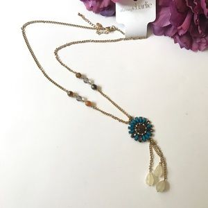 1DAY SALE Blue flower long necklace By Charming C.