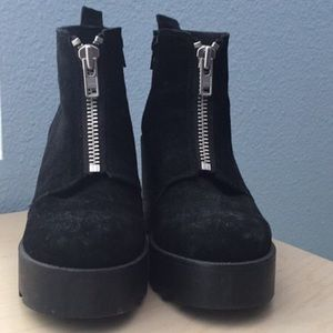 Suede Platform Zip Up Booties