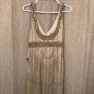 Sue Wong Platinum Beaded Deco Dress