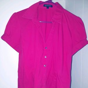 Fuchsia NY & Co Button-Down Blouse-SZ L