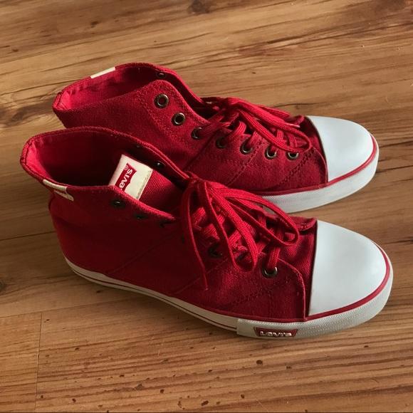 Levi's Shoes | Red Levi Hightops | Poshmark