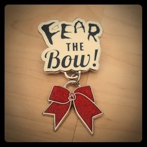 Varsity Red Fear The Bow Cheer Pin