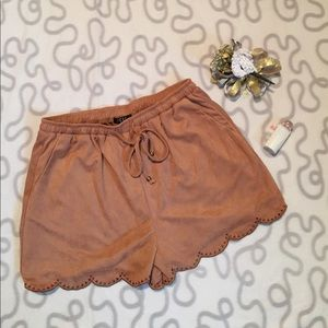 Faux suede scalloped shorts!