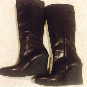 Brown wedge boots size 9